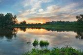 Sunset Over Russian Town Zvenigorod.