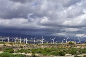 Wind Turbines Generating Electricity In Tenerife, Canary Islands
