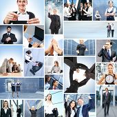 Collage with a lot of different business people working together