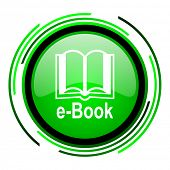 e-book green circle glossy icon