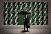 Businessman With Umbrella Under Rain Drawing
