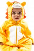 Black Child Boy,dressed In Lion Carnival Suit, Isolated On White .