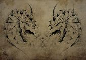 Tattoo dragons over vintage paper, black tribal tattoos
