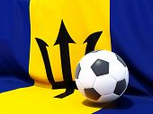 Flag Of Barbados With Football In Front Of It