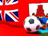 Flag Of Bermuda With Football In Front Of It