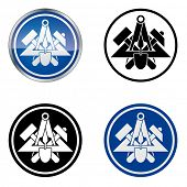 Mason - Traditional Craftsmen's Guild Vector Symbol, four variations