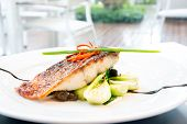 image of pangasius  - grilled barramundi steak with sweet sauce - JPG