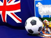Flag Of Falkland Islands With Football In Front Of It