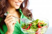 stock photo of healthy eating girl  - Close - JPG