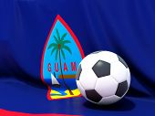 Flag Of Guam With Football In Front Of It