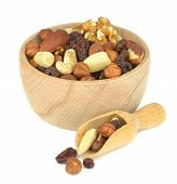 A wooden bowl of mixed fruit and nuts