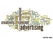 Vector eps concept or conceptual abstract advertising word cloud or wordcloud isolated on white back