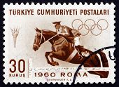 Postage Stamp Turkey 1960 Steeplechase, Horse Racing