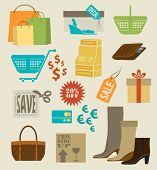 Shopping Icons - Set of colorful shopping icons, labels, tags and symbols, including wallet, shopping cart, shopping bags, credit card, gift box and items on sale