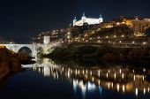 Toledo cityscape at night. Toledo Spain .