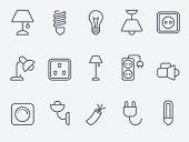 stock photo of fluorescent light  - Electric accessories icons - JPG