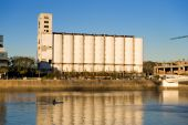 Old Grain Elevator And Silos Buenos Aires, Harbor, Argentina.