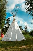 Indian Tepee Against Blue Sky