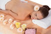 Attractive Healthy Caucasian Woman Hot Stone Massage Wellness