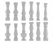 Baluster. Various types and styles