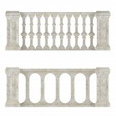 picture of balustrade  - Classic marble balustrade isolated at the white background - JPG