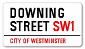 stock photo of prime-minister  - The street name sign from Downing Street South West One - JPG