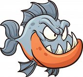 Cartoon piranha. Vector clip art illustration with simple gradients. All in a single layer.