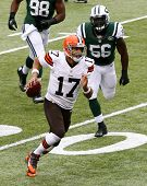 NEW YORK-DEC 22:  Cleveland Browns quarterback Jason Campbell (17) carries the ball against the New