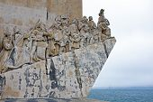 White stone ship shaped Monument to the Discoveries hailing Portugals famous navigator and history,