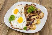 Plate With Fried Potatoes And Egg