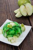foto of jello  - Fresh made Apple Jello with fresh fruit pieces - JPG
