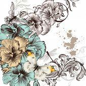 Grunge Vector Background With Violent  Flowers For Design