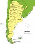 Argentina con distritos administrativos y países circundantes