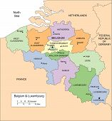 Belgium and Luxembourg with Administrative Districts and Surrounding Countries