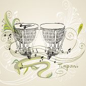 foto of timpani  - hand drawn timpani on a light background - JPG