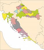 Croatia, Administrative Districts and Surrounding Countries