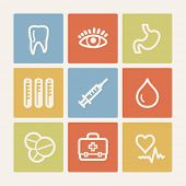 Medicine web icon set 1, color square buttons