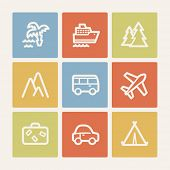 Travel web icon set 1, color square buttons