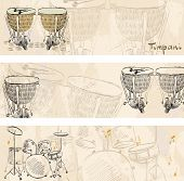 foto of timpani  - hand drawn seamless pattern of  musical instruments - JPG
