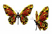 Red Black Yellow Paint Made Butterfly Set