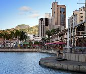 The embankment at sunset Port-Louis- capital of Mauritius