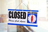 Closed sign on a restaurant door