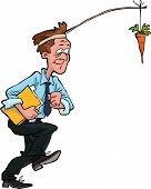 picture of dangling a carrot  - Office worker goes for carrot vector illustration - JPG