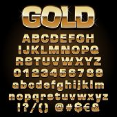 picture of posh  - Vector illustration of a gold metal alphabet - JPG