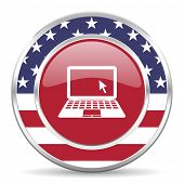 computer american icon, usa flag
