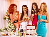 stock photo of hen party  - Group people at hen - JPG