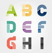 Alphabet Modern Paper Cut Abstract Style Design. Vector Illustration.