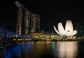 SINGAPORE - FEBRUARY 22: The Marina Bay Sands complex at night on February 22, 2012 in Singapore. Ma