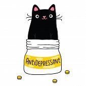 picture of antidepressant  - Cute Cat and antidepressant - JPG