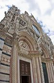 Wide angle detail of external architecture of Siena cathedral